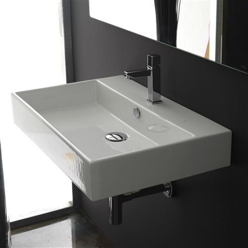 Modern Rectangular Ceramic Vessel Bathroom Vanity Sink with Single Hole