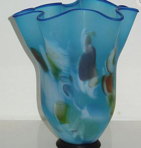 Blue hand blown art glass