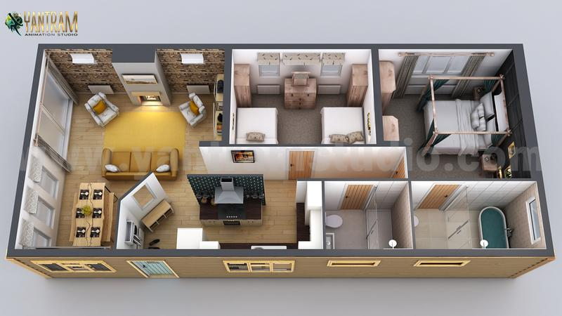 Modern Small Home Design 3D Floor Plan by Yantarm Architectural Rendering Company, Paris - France