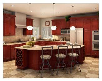 Landmark Brandy Kitchen Cabinet for 10'x10' Kitchen
