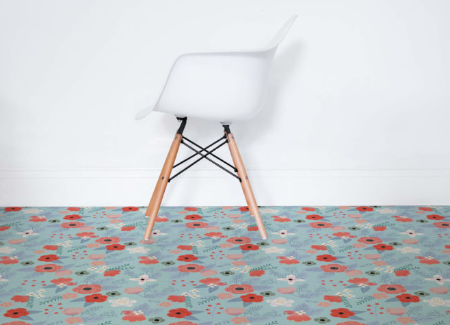 Summer Floral Pattern Vinyl Flooring
