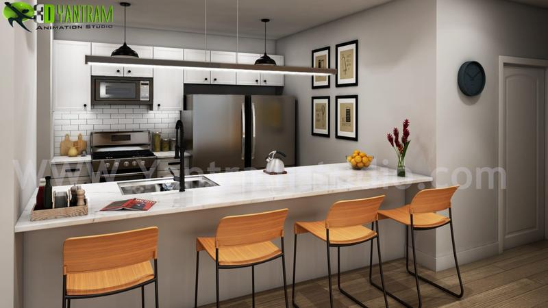 Modern Small Kitchen Rendering Ideas by Yantram 3d interior modeling Milan, Italy.