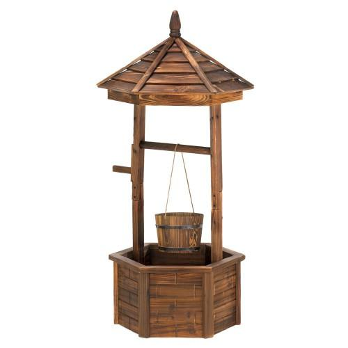 Rustic Wishing Well Planter For Outdoor Living Space