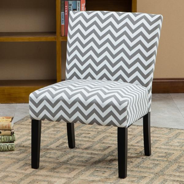 Botticelli Grey Wave Print Fabric Armless Contemporary Accent Chair -