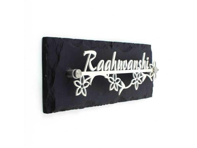 Raghuvanshi with stone - Metal Name Plate Designs for Home and Offices Online in India