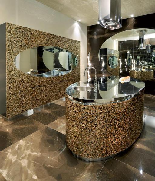 Mother Of Pearl (MOP)   Bathroom Backsplash, Vanity Mirror, And Island