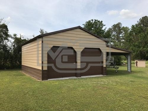 Buy Vertical Roof Enclosed Steel Garage With Lean-to 24'Wx31'Lx12'H