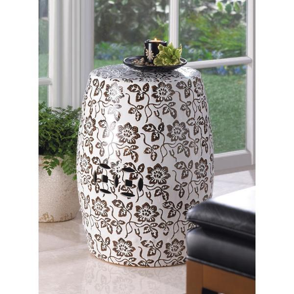 Ceramic Black & White Stool - Floral Pattern Decorative Stool