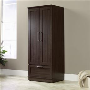 Dark Brown Wood Wardrobe Cabinet Armoire with Garment Rod
