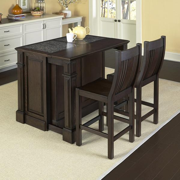 Home Styles 5029-948G Prairie Home Kitchen Island with Granite Top and Two Stools Black Oak Finish