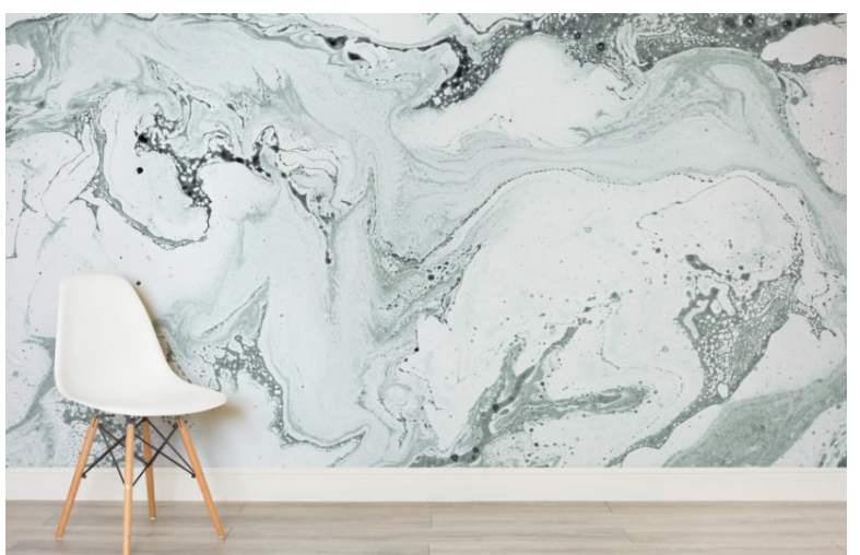 Green Marbleized Wallpaper Mural