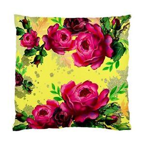 Vintage Dark Pink Peonies ON Yellow AND Gold Leaf Background Cushion Cover | eBay