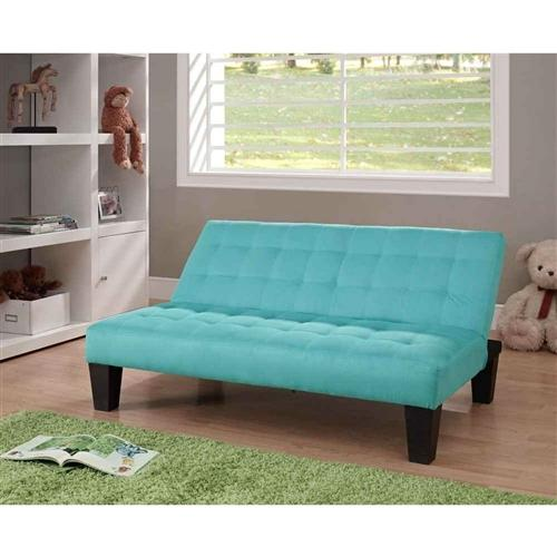 Kids Teens Futon Sofa Bed Recliner in Teal Blue Green Microfiber