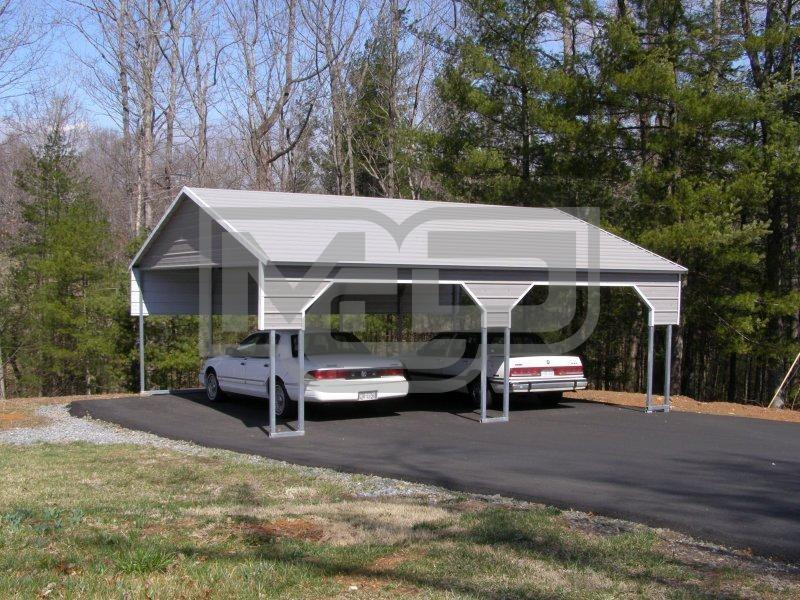 Boxed Eave 2-Car Side Entry Metal Carport