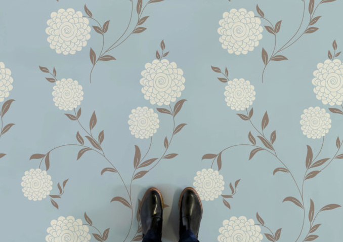 White Flower - Floral Graphic Vinyl Flooring