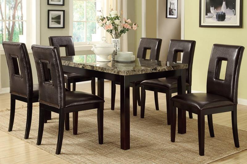 Poundex F2093 & F1051 Faux Marble Top W/ Brown Leatherette Chairs Dining Set - Table & Chair Sets