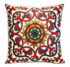 Embroidered Cushions with Birds and Flowers, Decorative Pillows