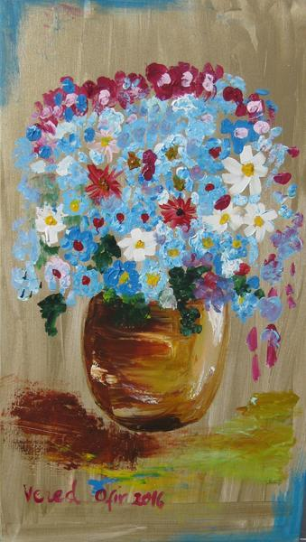 Turquoise Daisies Acrylic On Canvas 70X40cm