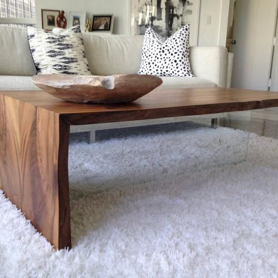Wood Coffee Table  Floating and rustic design