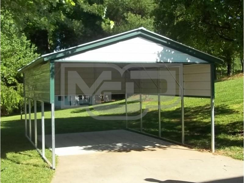 Vertical Single Metal Carport with Gable - Metal Carports Direct