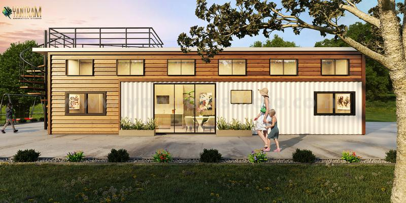 Popular Shipping Container House 3D Exterior Rendering Services by Architectural Design Studio, Amsterdam - Netherlands