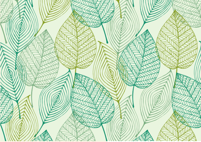 Leaf -  Illustrated Leaves Vinyl Flooring