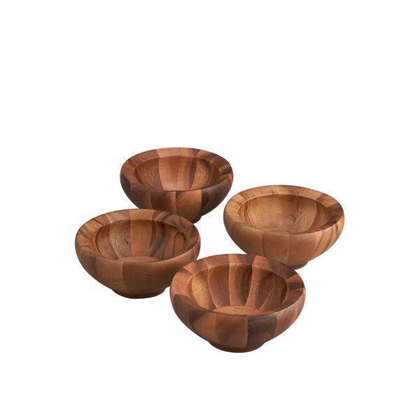 Nambe Yaro Acacia Wood Salad Bowls, Set of 4