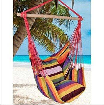Busen Hammock Hanging Rope Chair Sky Air Hammock Swing Chair Porch Chair with Stand Cushioned Seat : Patio, Lawn & Garden