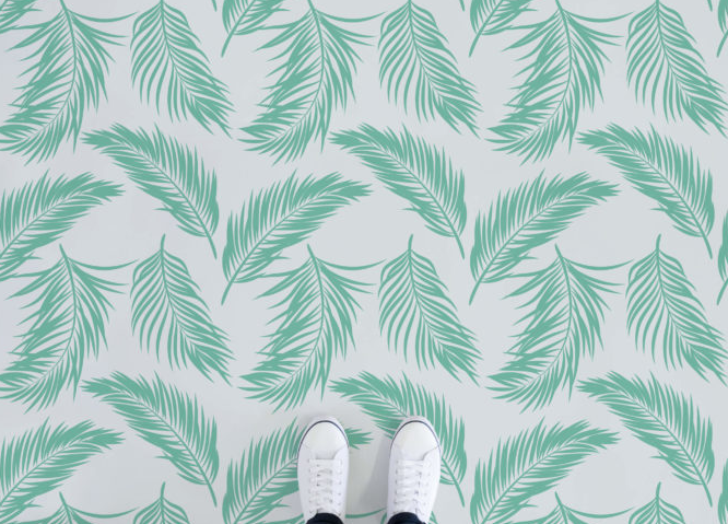 Hawaii - Green Tropical Leaf Vinyl Flooring