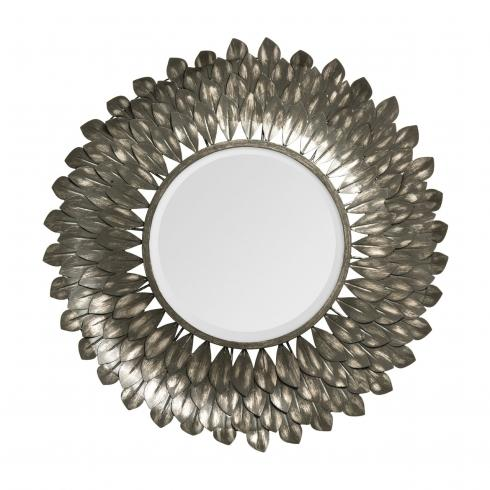 Garland Brushed Grey Iron Mirror | Metal Leaves