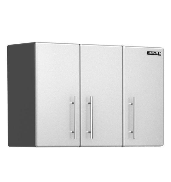 Office 3-Door Wall Overhead Storage Cabinet in Pearl
