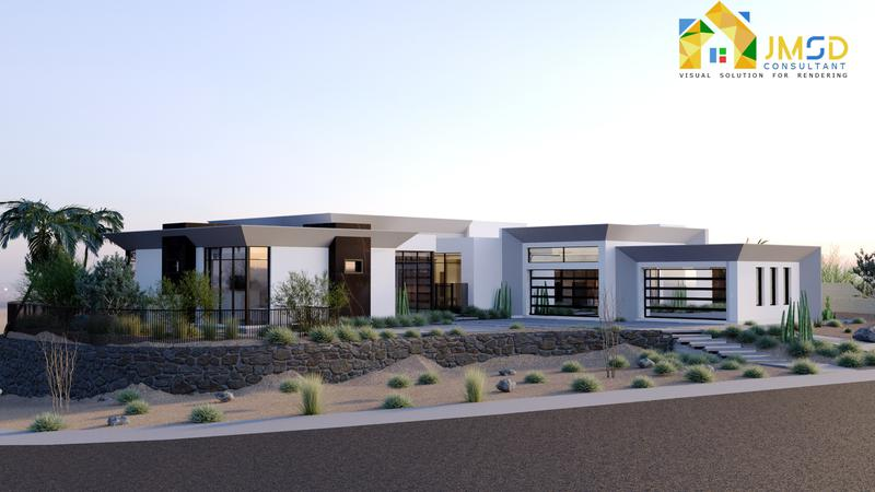 Exterior Design of Modern Villa 3D Property Rendering project San Antonio Texas