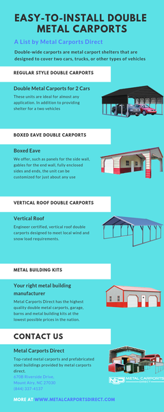 Easy-To-Install Double Metal carports