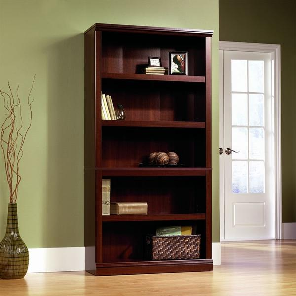 Sauder 5-Shelf Bookcase, Select Cherry Finish - Bookshelf