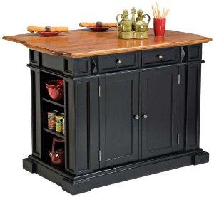 Home Styles 5003-94 Kitchen Island, Black and Distressed Oak Finish - Kitchen Storage Carts
