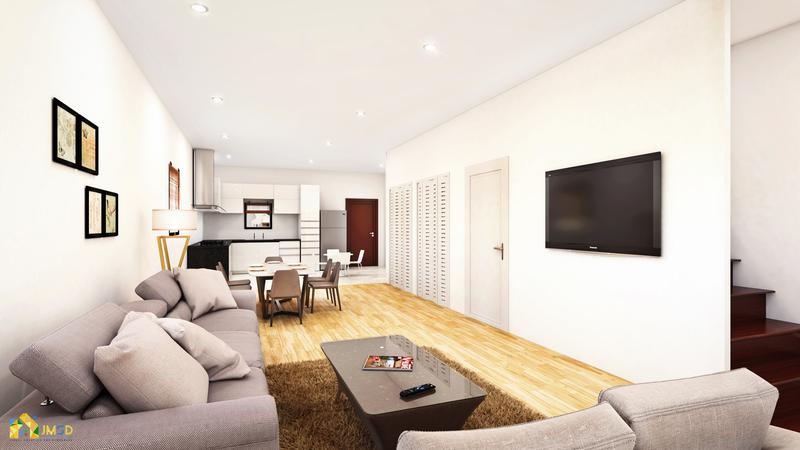 3D Rendering for Living Room with Open Kitchen in Los Angeles California
