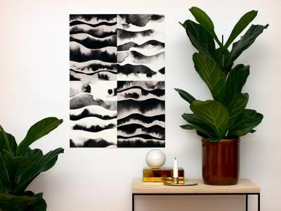 Black & White Wave print by Kristina Krogh at Blackthumb