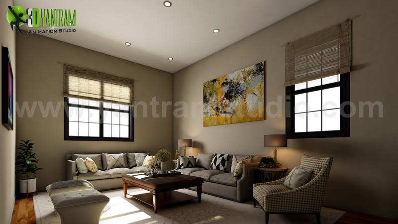 Living Room Interior Rendering ideas by interior concept drawings Morocco