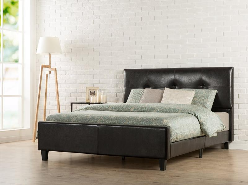 Tufted Faux Leather Upholstered Platform Bed with Footboard