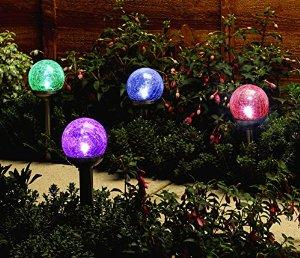 Kingsolar 3Pack Colorful Crackle Glass Globe Solar Light, Solar Garden Lights, Solar Led Lights, Solar Pathway Lights : Patio, Lawn & Garden