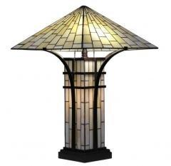 Tiffany-style Mission 2-light Ivory Table Lamp