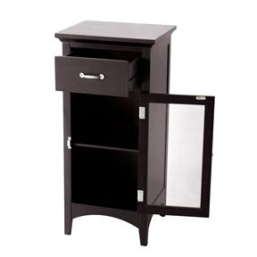 Dark Espresso Bathroom Floor Cabinet with 1 Drawer and Glass Door