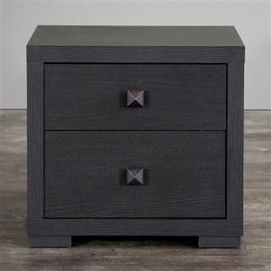 Modern 2-Drawer Bedroom Nightstand in Espresso Faux Wood Grain Finish