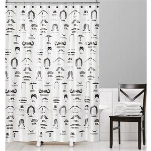 Barber Shop Beard Mustache Black White PEVA Vinyl Shower Curtain