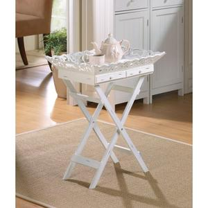 A Stylish Tray Table With Elegantly Aged White Finish