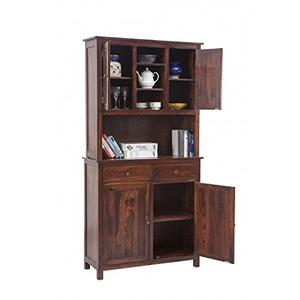 Home Crockery Unit Dining Buffet Hutch (Light Walnut)