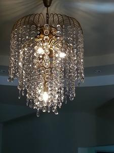 Beautiful chandelier rustic type - 4 lamps with genuine crystal.