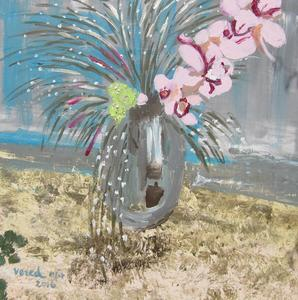 Orchid On Vase - Acrylic On Canvas 80x80cm