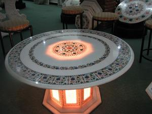 Marble Inlay Table Top with Lighting Base