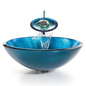 Round Blue Tempered Glass Vessel Bathroom Sink